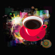 Morning black Coffee on a abstract background.Vector — Stockvektor