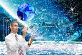Engineering designing cosmic technology — Stock Photo