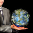 Businessperson and globe Earth.Ecology concept — Stock Photo