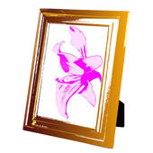 Vintage foto frame wooden and pink lily.Vector — Stock Vector