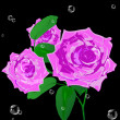 Beautiful pink rose on a black background.Holiday card.Vector — 图库矢量图片