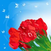 Bouquet red garden tulip on a abstract blue background. Vector — Stockvektor
