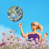 Beautiful young female and planet Earth.Ecology concept — Stock Photo
