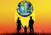 Happy Family and globe planet Earth.Earth day — Stock Photo