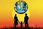 Famille et globe planète earth.earth dejonc — Photo