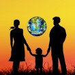 Happy Family and globe planet Earth.Earth day — Стоковая фотография
