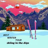 Zimní sporty lyžování odpočinek v alpských resorts.vector — Stock vektor