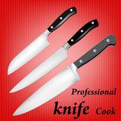 Coltello professionale cuoco su un astratto background.vector — Vettoriale Stock