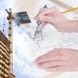 Engineering Designing  buildings in construction — ストック写真