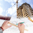 Engineering Designing  buildings in construction — Stock Photo