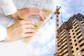 Technische ontwerpen van gebouwen en bouwwerken — Stockfoto