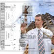 Engineering Designing  buildings.Engineer — Foto de Stock