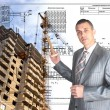 Engineering Designing  buildings.Engineer — Stock Photo