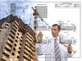 Engineering Designing buildings.Engineer — Stock Photo