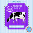 ストックベクタ: Tasty fresh delicious dairy food poster.Vector illustration