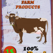 Fresh delicious dairy and beef food poster.Vector illustration — Stok Vektör