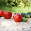 Fresh vegetables. Tomato and cucumber — Stock Photo