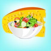 Ensalada de verduras frescas y un queso de leche agria — Vector de stock