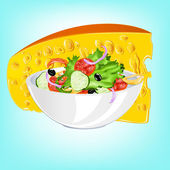 Salad of fresh vegetables and a delicious sour milk cheese — Vector de stock