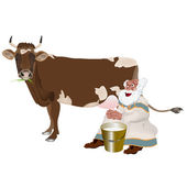 Old Grandpa milkman and a cow — Stock Vector