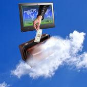 Electronic bank trades.E-banking financial business — Stock Photo