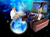 Bank financial exchange electronic trading.Analyst — Stock Photo