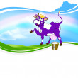 Cheerful purple cow and a bucket of fresh milk on a green meadow — Stock Photo