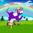 Label dairy products.A cheerful purple cow and a bucket of fresh milk — Stock Photo