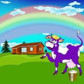 Etykieta mlecznych products.a wesoły fioletowa krowa — Zdjęcie stockowe
