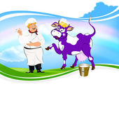 Cheerful milkman and purple cow witch bucket of fresh milk on a green meadow — Stock Photo