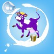 Label dairy products.A cheerful purple cow and a bucket of fresh milk — Stock Vector
