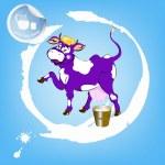 Popisek mléčné products.a veselé fialové krávy a kbelík čerstvého mléka — Stock vektor #31032381