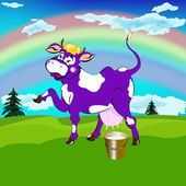 Label dairy products.A cheerful purple cow and a bucket of fresh milk on a high alpine meadow green — Stock Vector