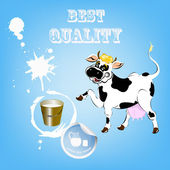 Label dairy products.A cheerful cow and a bucket of fresh milk — Stock Vector