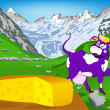 Label dairy products.Cheese.A purple cheerful cow — ストック写真