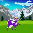 Label dairy products.A purple cheerful cow high alpine meadows of green — Stock Photo