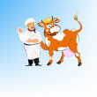 Label dairy products.A cheerful milkman and cow — Stock Photo