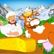 Label dairy products.Cheese.A cheerful milkman and cow — Foto de Stock