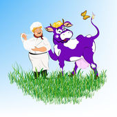 Label dairy products.A cheerful milkman and purple cow — Stock Photo
