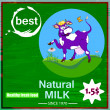 Label dairy products.A cheerful cow — Stock Vector #31232969