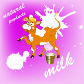 Label dairy products.A cheerful cow — Stock Vector