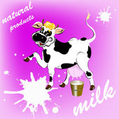 Sticker dairy products.A fresh milk from cheerful cow — Stock Vector