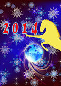 O ano novo, o cartão de Natal horse.festive — Fotografia Stock
