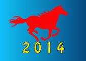 O ano novo, o cartão de natal horse.festive — Vetorial Stock