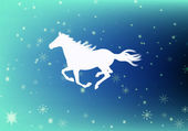 The New Year of the Horse.Festive Christmas card — Stock Photo