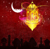 Arabic Lamp with on shiny abstract night background for Ramadan Kareem — Stock Photo