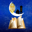 Arabic Lamp with on shiny and old book abstract night background — Stock Photo