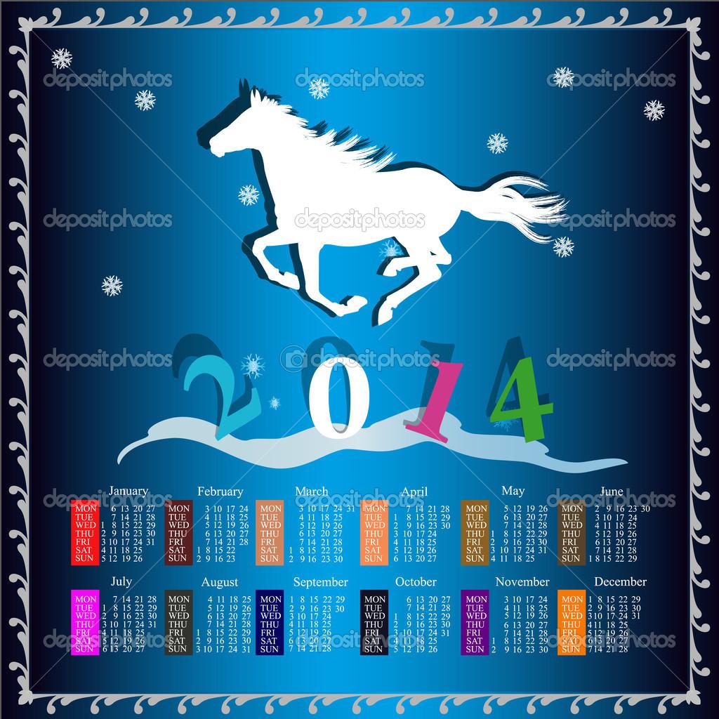 The New Year Horse. Calendar 2014 - Stock Illustration