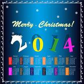 The New Year Horse. Calendar 2014 — Stock Vector