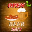 Best traditional fresh cold Beer and hot sausage.Brewpub menu.Vector — Векторная иллюстрация